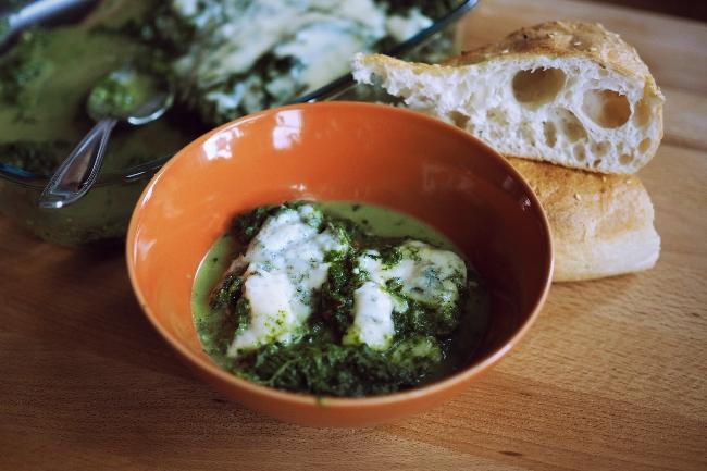 Spinat und Gorgonzola aus dem Backofen